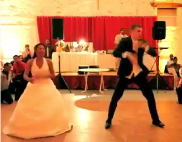 Interracial Couple Dances at Wedding