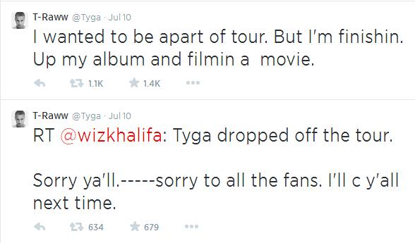 tyga tour tweet