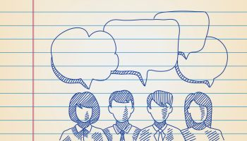 Group of People with speech bubbles Drawing on ruled paper