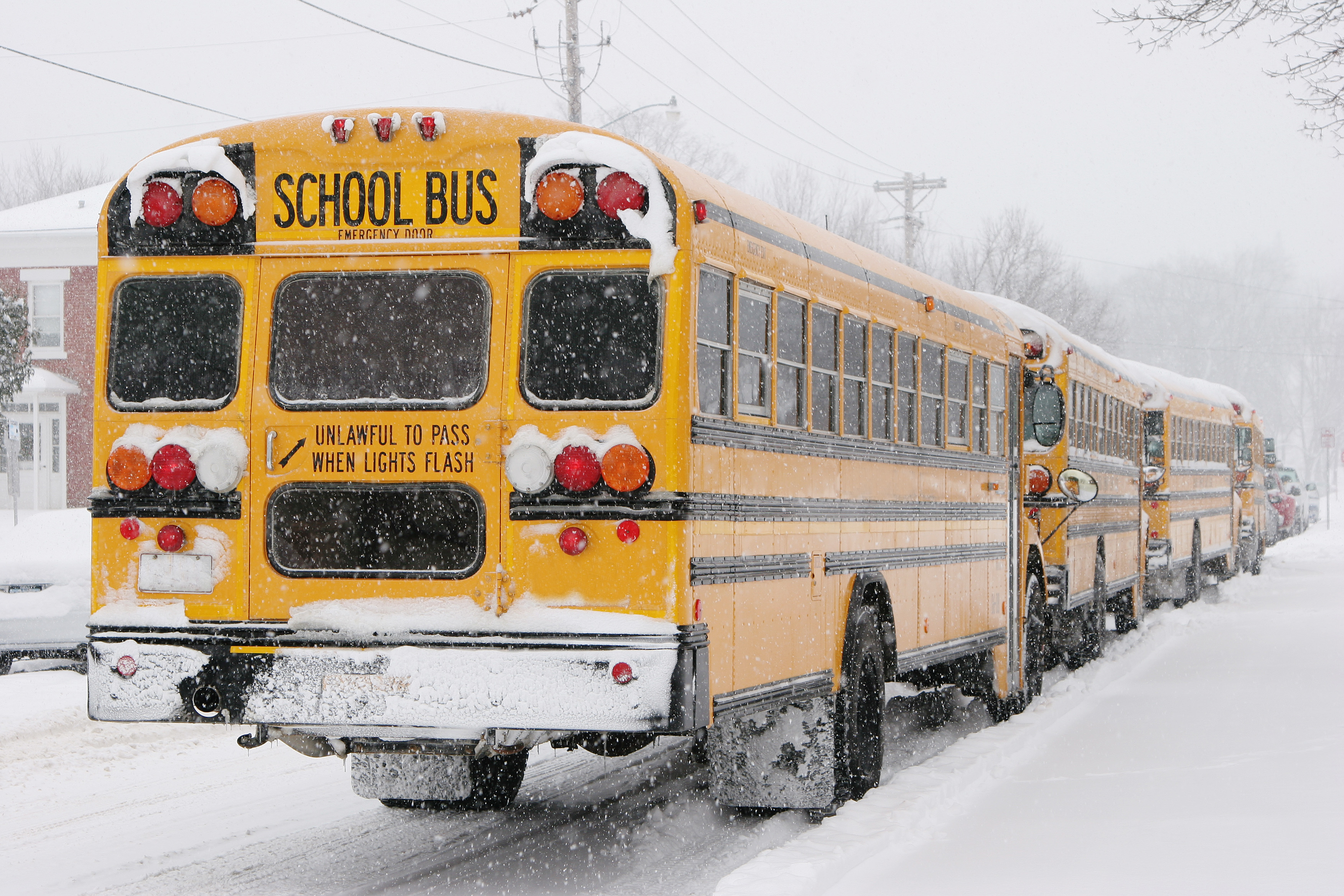 School's Out Early! Buses in Snow