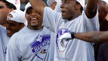 Ray Lewis (L) and Shannon Sharpe (R) of the Balitm