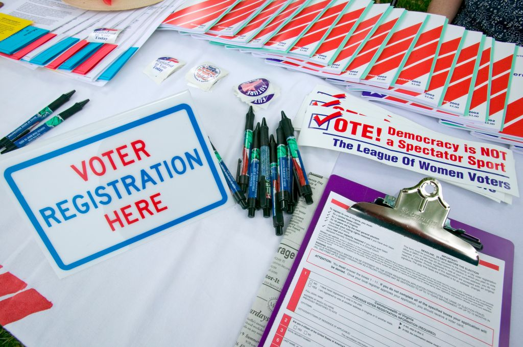Voter registration forms promoting citizen participation at Thomas Jefferson's Monticello on July 4, 2005 for new American Citizens being sworn in as American Citizens