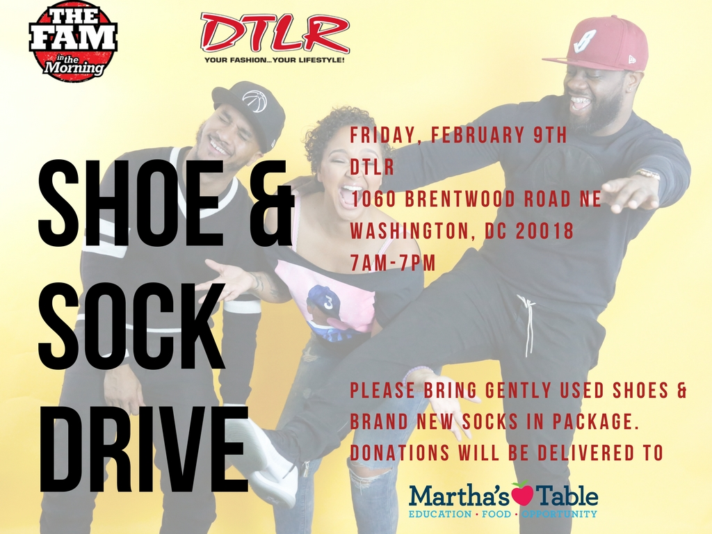 The Fam In The Morning Shoe & Sock Drive