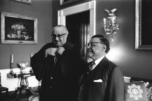 Supreme Court Justice Thurgood Marshall talks with William T. Coleman