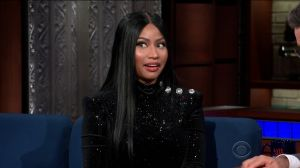 Nicki Minaj during an appearance on CBS' 'The Late Show with Stephen Colbert.'