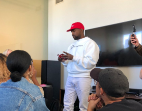 Kanye West in MAGA hat at The Fader