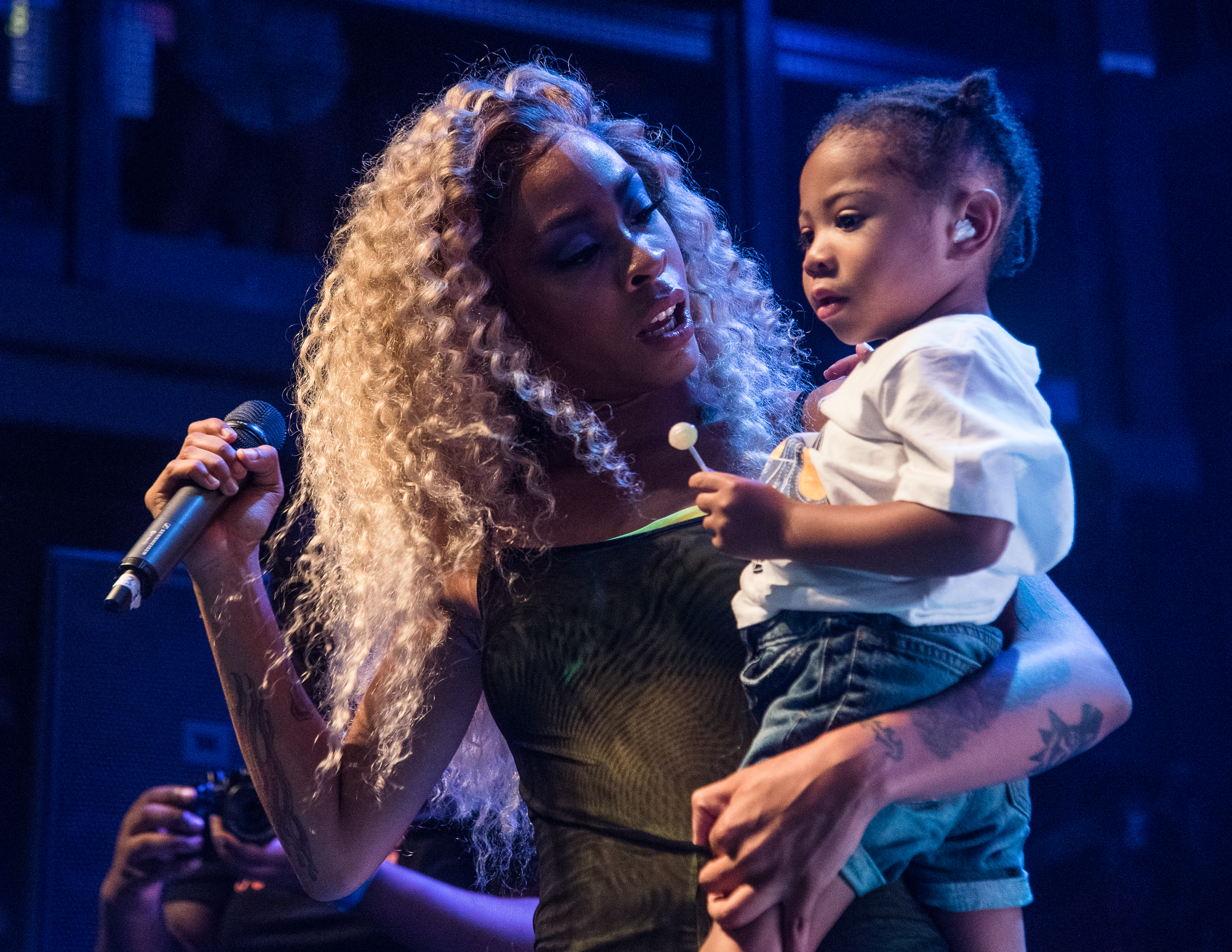Rico Nasty (Maria-Cecilia Simone Kelly ) on stage with her son Tuesday evening at the Fillmore Silver Spring.