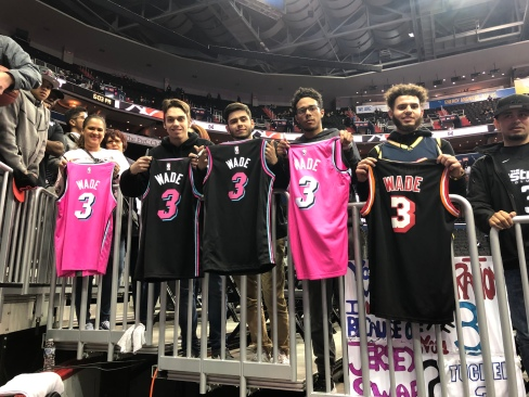 Dwyane Wade Fans display Jerseys