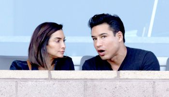 Mario Lopez and Courtney Lopez at the Los Angeles Chargers game