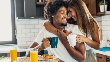 Eating breakfast together