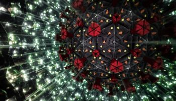 Model of Human Coronavirus particle created with kaleidoscope