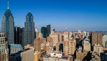 Panoramic aerial view on Philadelphia Downtown in a sunny day.