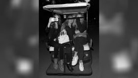 Cara Delevingne rides a golf buggy through Hyde Park with friends Clara Paget and Suki Waterhouse