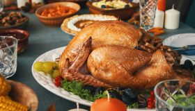 Having Traditional Holiday Stuffed Turkey Dinner